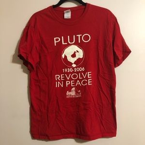 Red Pluto Revolve in Peace tee GriffithObservatory